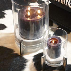 Lanterne verre et métal 18 cm