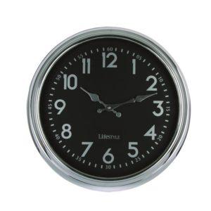Horloge noire et chrome 24 cm Lifestyle