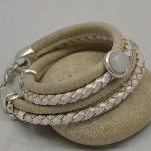 Bracelet cuir ivoire-reptile