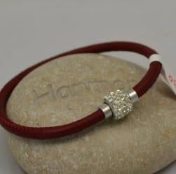 Bracelet cuir bordeaux et strass