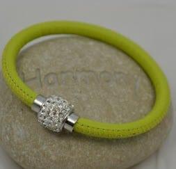 Bracelet cuir vert et strass