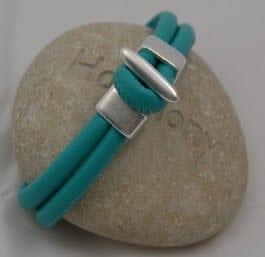 Bracelet cuir turquoise et argent