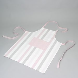 Tablier blanc rose et gris Simla