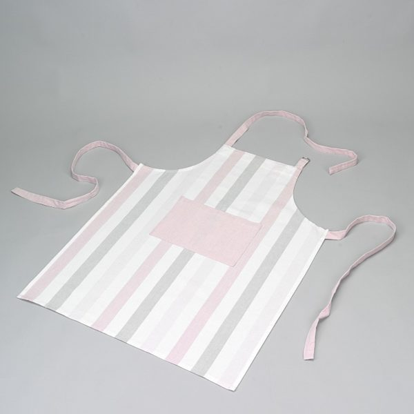 p 4 9 3 493 Tablier blanc rose et gris Simla - Tablier blanc rose et gris Simla