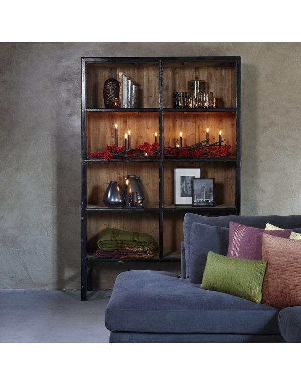 p 2 6 8 0 2680 Buffet haut noir 230cm Bellport Lifestyle - Armoire en bois Noir 230 cm Bellport