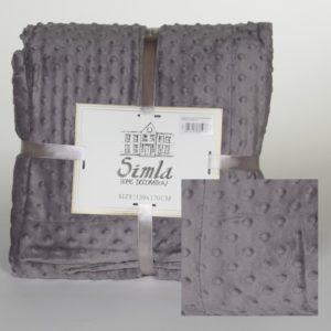 Simla-Plaid à boutons gris 130x170cm