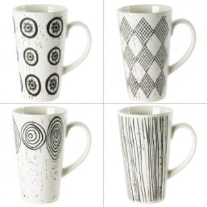 Mugs Noir et blanc 42 cl Coffret de 4 Table Passion