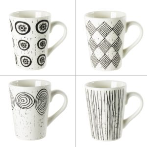 Tasse Palawan 18cl Noir et blanc Coffret de 4 Table Passion
