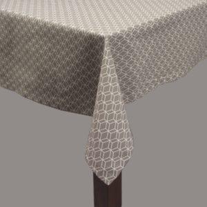Nappe Simla 180x180cm Géometrical gris et blanc