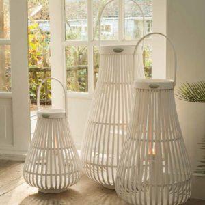 Lanterne Bambou blanc 40 cm Braxton