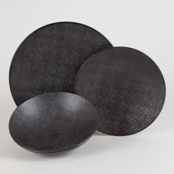 p 1 7 4 2 1742 Assiette plate Noir 27cm Vesuvio Lot de 6 - Lot de 6 Assiettes plates 27cm Noir Vésuvio