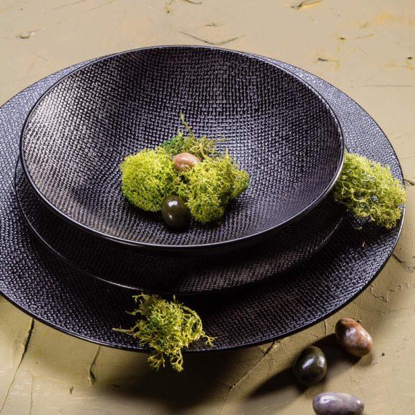 p 1 7 4 3 1743 Assiette plate Noir 27cm Vesuvio Lot de 6 - Lot de 6 Assiettes plates 27cm Noir Vésuvio