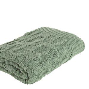 Plaid vert tricoté 130X170 cm Braxton
