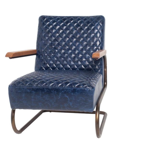 fauteuil edward bleu - Fauteuil Cuir Bleu Edward