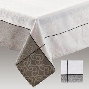 Nappe Simla 150 x 260 cm gris et blanc