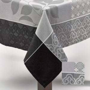Nappe Jacquard 150x300 cm blanc et gris Simla