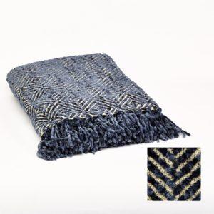 Plaid chenille Bleu et écru 140x170cm