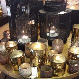 Photophores en verre or et cuivre (lot 3)