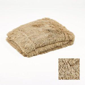 Plaid beige foncé poil long 130x170cm Simla