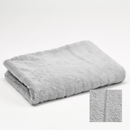 plaid gris clair stripes 130x170cm simla my home collection. Black Bedroom Furniture Sets. Home Design Ideas