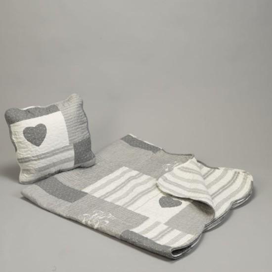 Boutis gris clair 230 x 250 cm + 2 taies