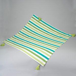 Nappe rayures 180x180 cm Simla vert, blanc, turquoise