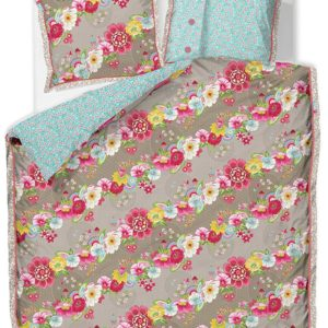 Housse de couette Pip Studio 260x240cm + 2 taies 65x65cm Swinging Flowers Kaki
