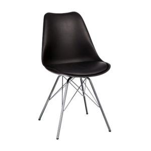 Chaise Design Noir Pied Métal Chrome
