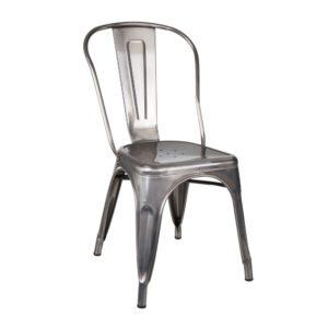 Lot de 4 chaises Métal Argent industriel Dallas