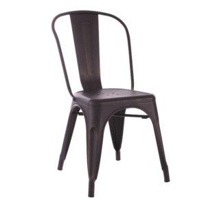 Lot de 4 chaises Métal Noir or industriel Dallas