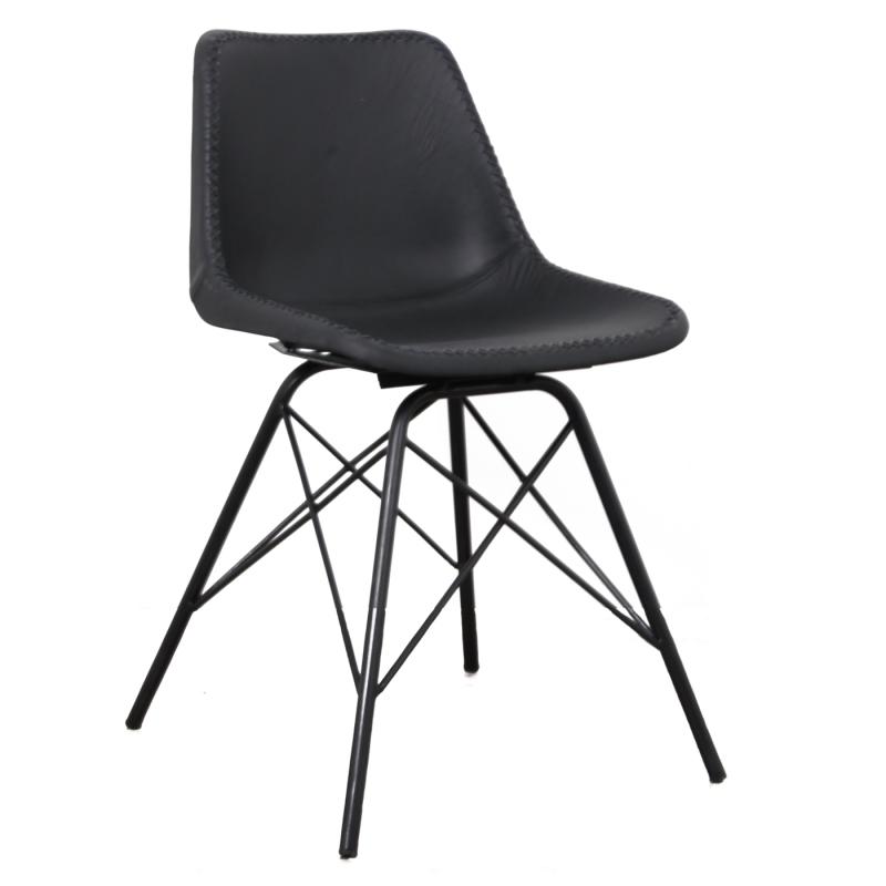 chaise cuir noir loft - Chaise Cuir Noir