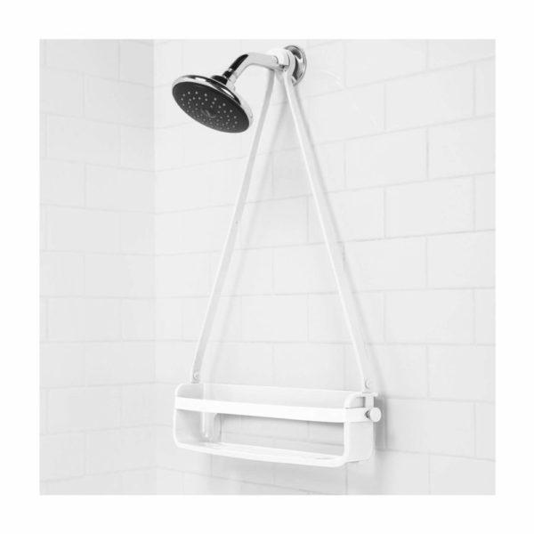 61IlWIgrFUL. SL1500 - Caddie de douche Flex. Organiseur de douche à étagère, à suspendre, coloris blanc.