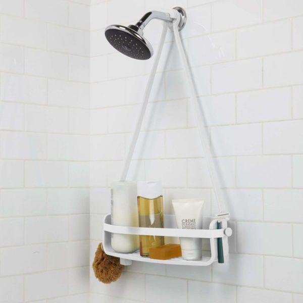 - Caddie de douche Flex. Organiseur de douche à étagère, à suspendre, coloris blanc.