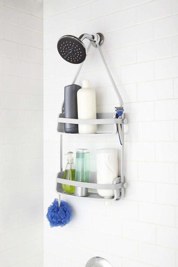 71MH7OrfysL. SL1500 - Caddie de douche Flex. Organiseur de douche à étagère, à suspendre, coloris blanc.
