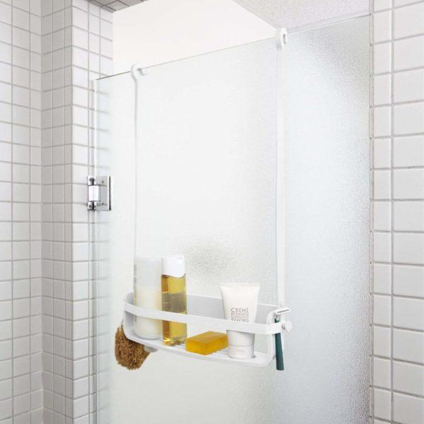 81bCJq1eFSL. SL1500 - Caddie de douche Flex. Organiseur de douche à étagère, à suspendre, coloris blanc.