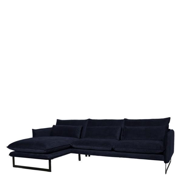 canape angle gauche milan bleu fonce lifestyle - Canapé d'angle gauche velours 14 coloris Milan