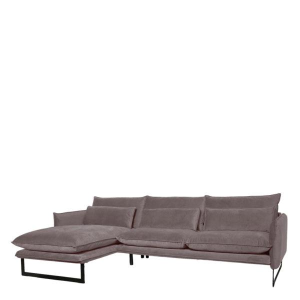 canape angle gauche milan gris lifestyle - Canapé d'angle gauche velours 14 coloris Milan