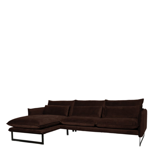 canape angle gauche milan marron fonce lifestyle - Canapé d'angle gauche velours 14 coloris Milan