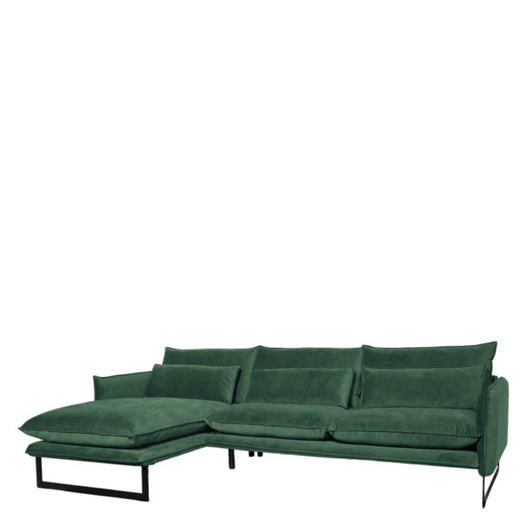 canape angle gauche milan vert foret lifestyle - Canapé d'angle gauche velours 14 coloris Milan