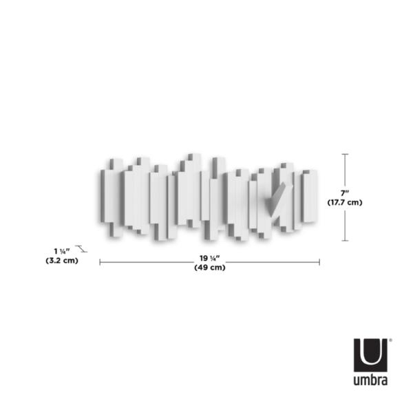 sticks multi hook blanc mesures - Patère Sticks blanc UMBRA 5 crochets