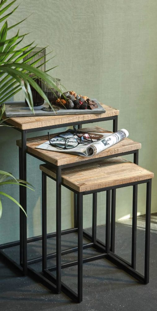 127348 170 - Set de 3 Sellettes en bois rectangle Mickael