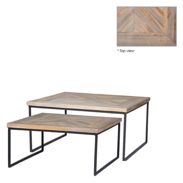Table basse carré Mickael lot de 2 - Tables basses en teck Mickael Set de 2