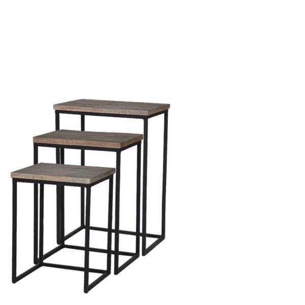 table mickael rectangle lot de 3 lifestyle - Set de 3 Sellettes en bois rectangle Mickael