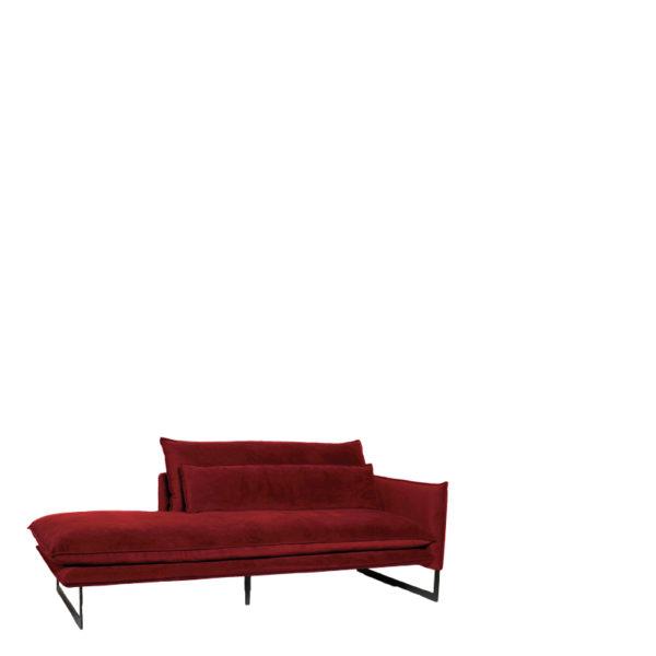 meridienne droite velours scarlet lifestyle - Méridienne Velours Droite 14 Coloris Milan