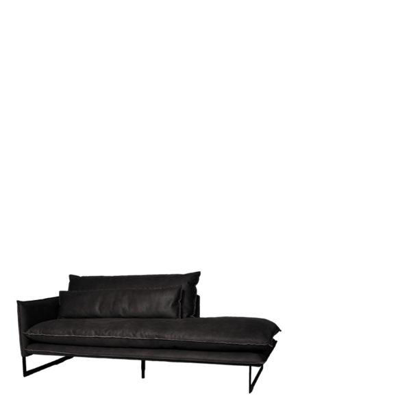 meridienne gauche anthracite cuir800 - Méridienne Cuir Gauche 7 coloris Milan