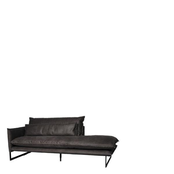 meridienne gauche milan gris 800 - Méridienne Cuir Gauche 7 coloris Milan