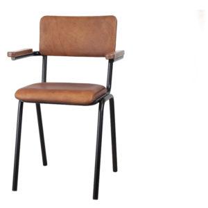 chaise en cuir accoudoirs school brun clair - Meilleures ventes