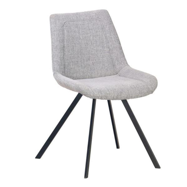 chaise RAY tissu gris - Lot de 2 Chaises Tissu Gris Ray