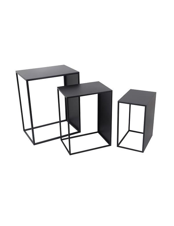 elvis set de trois sellettes rectangle en metal noir - Set de 3 Sellettes Rectangle Métal Elvis