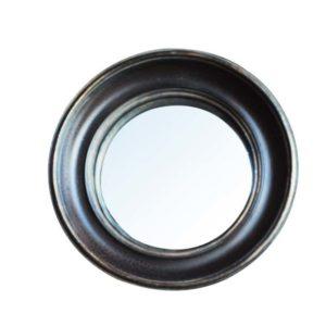 Miroir convexe 26cm bord noir or antique - Meilleures ventes